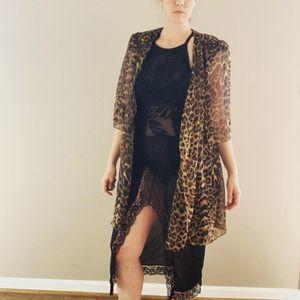 Vintage Leopard Print Kimono
